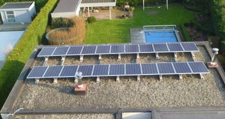 zonnepanelen op plat dak, montage op linteel te Wetteren